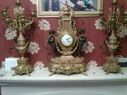 imperial bronze and pink italian marble clock and candelabra